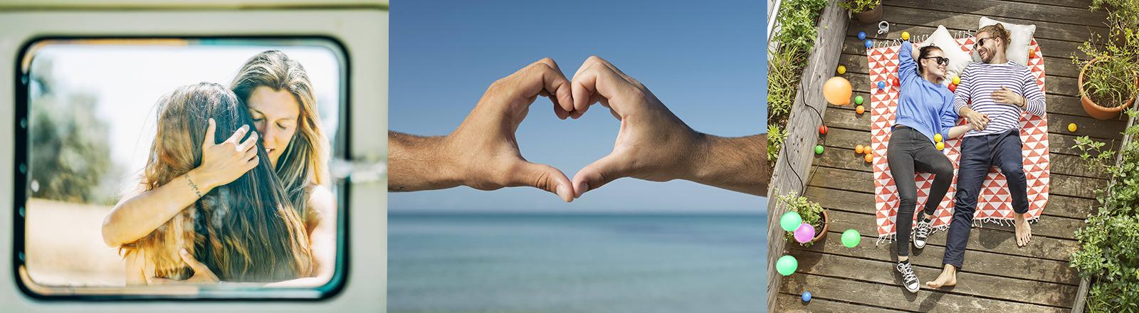 Ein lesbisches Paar umarmt sich an ein Auto gelehnt. Zwei Männerhände formen ein Herz. Eine Mann und eine Frau liegen aneinander geschmiegt auf einer Dachterrasse.