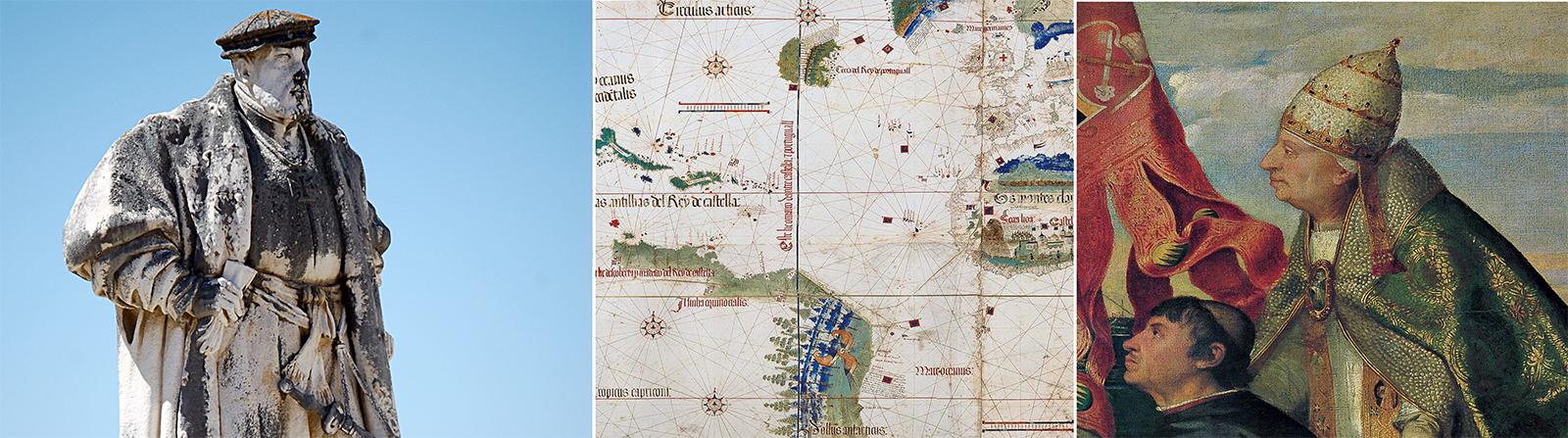 König Johann II von Portugal, Ausschnitt einer historischen Karte und Papst Alexander VI.  auf einem Gemälde von Tizian