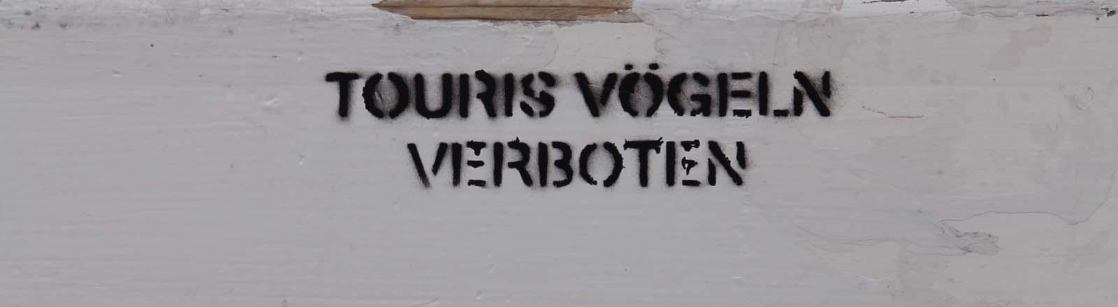 """Eine Bank mit dem Aufdruck: """"touris vögeln verboten"""""""""""