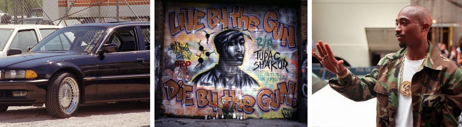 Ein schwarzer, zerschossener BMW, ein Graffiti, das Bezug auf den Tod von Tupac Shakur nimmt, der Rapper drei Tage vor seinem Tod