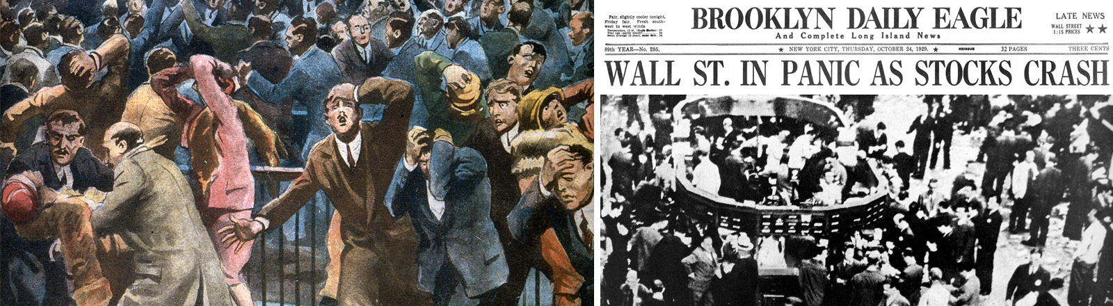 Wall Street Crash 29 Oktober 1929: Illustration von Alfredo Ortelli, Historische Fotografie aus der Wall Street, Zeitungsheadline Brooklyn Daily Eagle