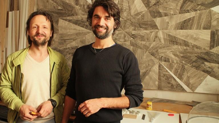 Das zweite Expertenteam. Architekt Flo Böhm und Betonkünstler Michael Villanueva.