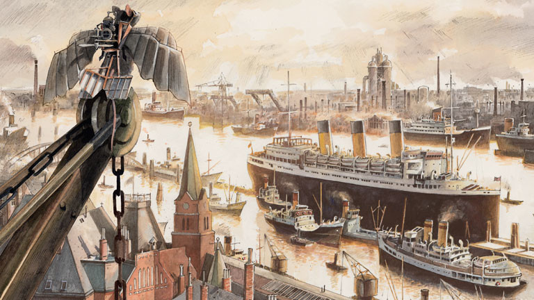 Zeichnung einer Maus auf einem Baukran über einem Hafen