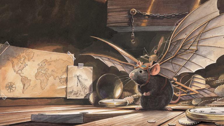 Zeichnung einer Maus mit Flugapparat auf dem Rücken auf einem Dachboden