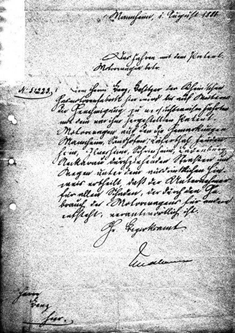 Erster Führerschein für Carl Benz