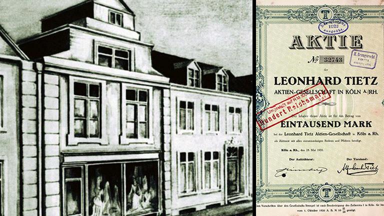 Eine Aktie der Leonhard Tietz AG und der Stoffladen von Leonhard Tietz in Stralsund.
