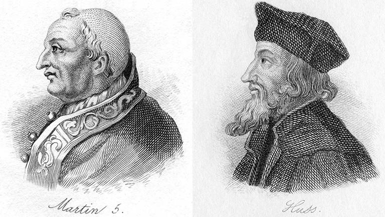 Zum Ende des Konzils in Konstanz wird Papst Martin V. berufen, der drei konkurrierende Päpste ablöst. Kirchenkritiker Jan Hus wird nach dreitägigem Verhört verbrannt.