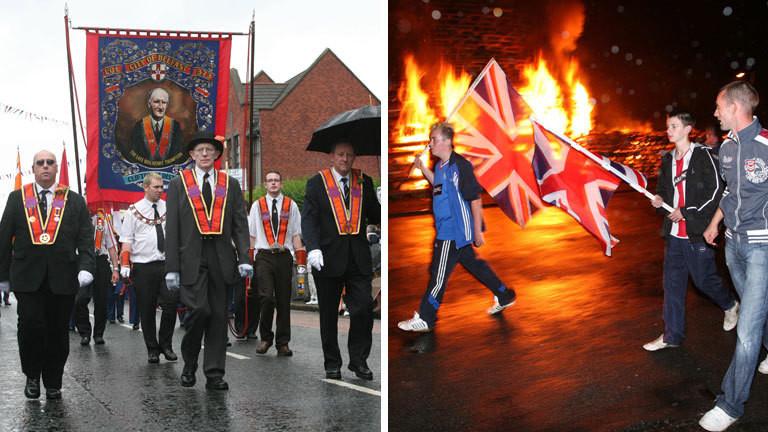 Protestantische Iren nehmen an Oranier-Märschen teil.