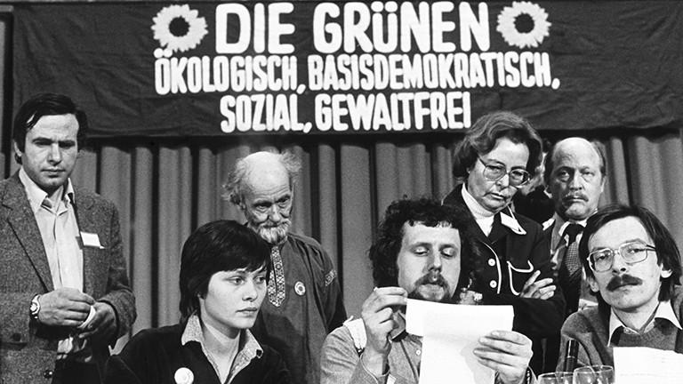 Gründungsparteitag der Grünen in der Stadthalle in Karlsruhe