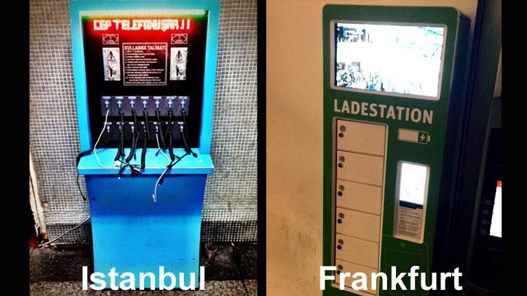 Handyaufladestationen in Istanbul und Frankfurt.