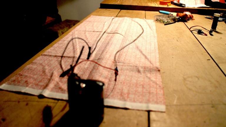 Stoffbahnen für den Schal