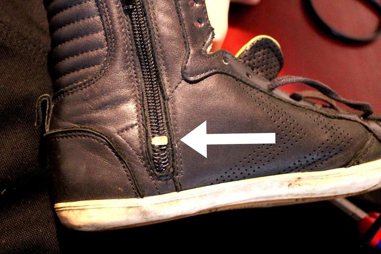 Per Blechstück abgetrennt - so kann der Schieber nicht mehr in den defekten Bereich gelangen.