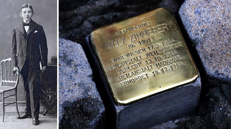 """""""Stolperstein"""" des Künstlers Günter Demnig erinnert an Willy Zimmerer, der zum Opfer der sogenannten Behindertdenmorde durch die Nationalsozialisten wurde."""
