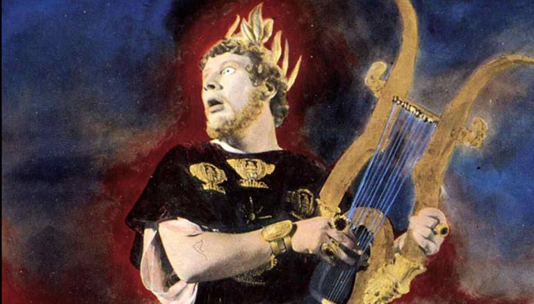 Nero, singend mit einer Harfe.