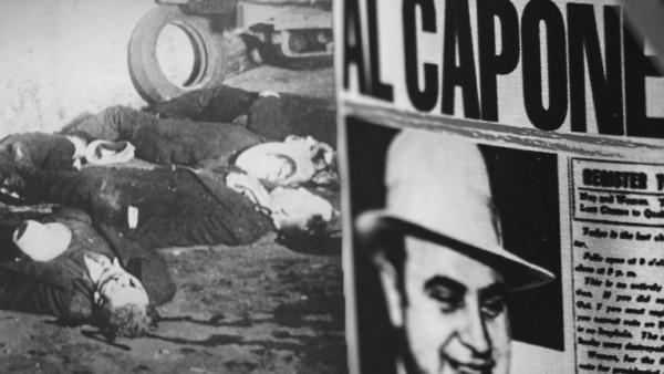Collage: Valentinstags-Massaker und Al Capone