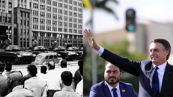 Militärs haben während des Putsches 1964 mit Panzern vor dem Kriegsministerium Stellung bezogen. | Brasiliens designierter Präsident Jair Bolsonaro winkt, während er mit seiner Ehefrau Michelle in einem offenen Rolls Royce durch die Hauptstadt Brasilia fährt.