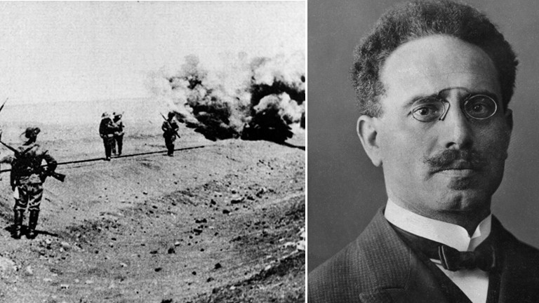 Montage: Karl Liebknecht und deutsche Soldaten im Ersten Weltkrieg.