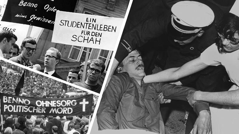 Collage: Der getötete Benno Ohnesorg mit Helfern. Demonstrationen nach dem Tode Benno Ohnesorgs.