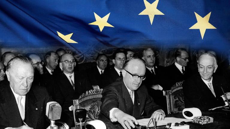 Die Unterzeichner der Römischen Verträge am 25.03.1957.