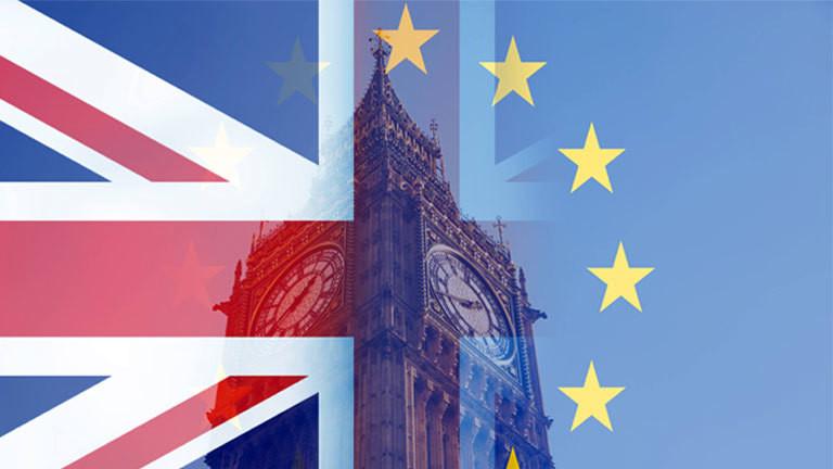 Flagge Großbritanniens und der EU vor dem Big Ben