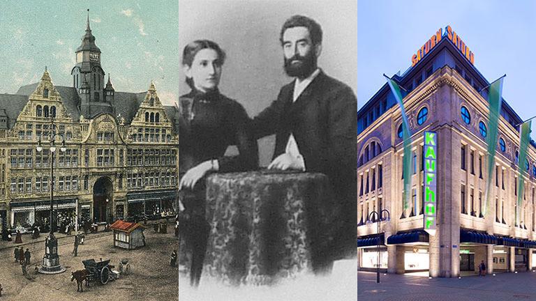 Leonhard Tietz an einem Tisch mit seiner Frau Flora, ein Tietz-Kaufhaus in Aachen, ein Kaufhof-Gebäude in Köln.