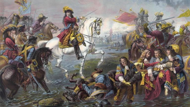 Ein Gemälde stellt die Schlacht am Boyne dar, 1690.
