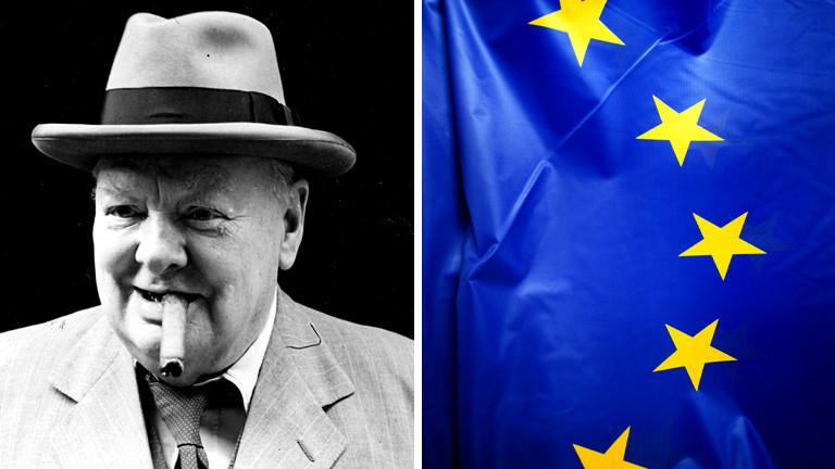Collage: Winston Churchill mit Zigarre und Hut, daneben die Europa--Flagge