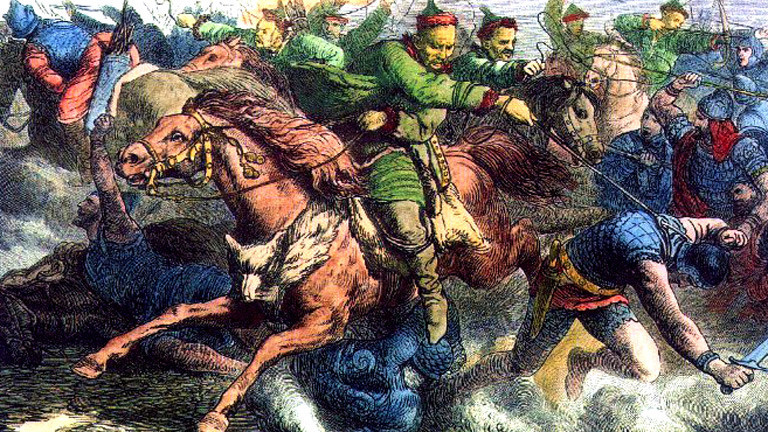 Ein Gemälde mit einer Szene eines Kampfes mit Beteiligung der Hunnen.