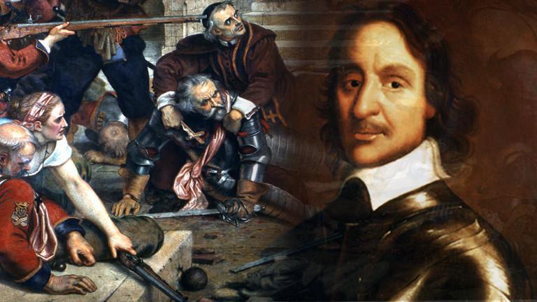 Collage: Schlachtgetümmel im englischen Bürgerkrieg, Oliver Cromwell