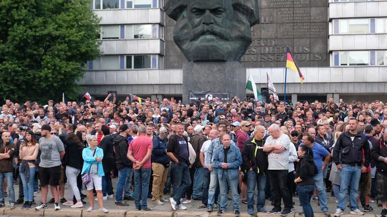 Eine Demonstration in Chemnitz