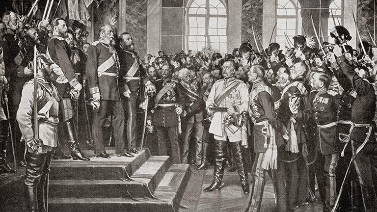 Gemälde der Proklamation Wilhelm I. am 18. Januar 1871 in Versailles zum deutschen Kaiser
