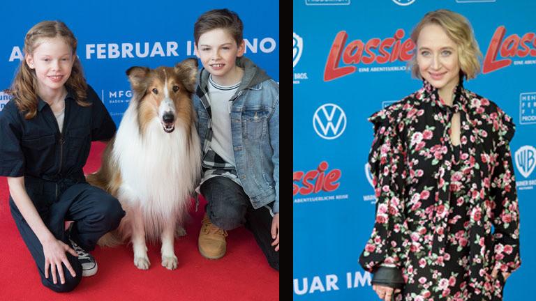 Zum Neustart des Kinofilms Lassie sind der Hund, sowie die beiden Kinder und Anna Maria Mühe zu sehen.