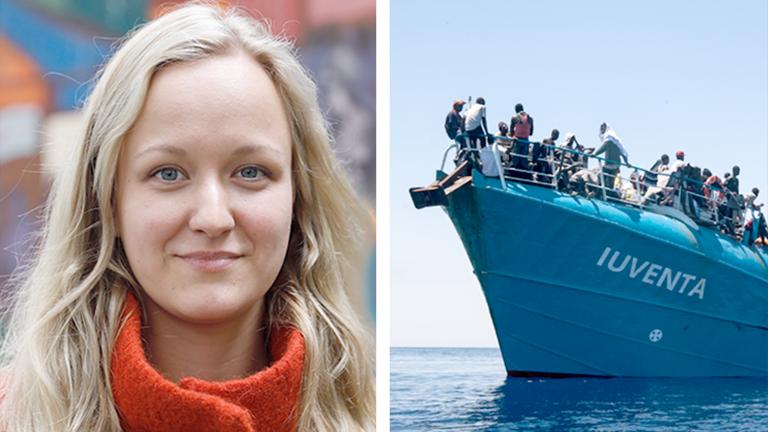 Collage: Links ein Portrait der Retterin Zoe Katharina, rechts ein Bild einer Rettungsaktion des Seenotrettungsschiffs Iuvenat