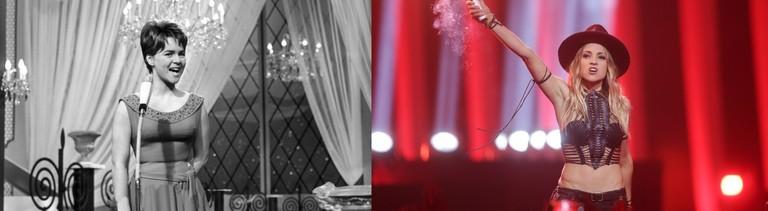 """Die deutsche Schauspielerin und Sängerin Cornelia Froboess trägt beim Grand Prix Eurovision de la Chanson am 18. März 1962 in Luxemburg das Lied """"Zwei kleine Italiener"""" vor."""