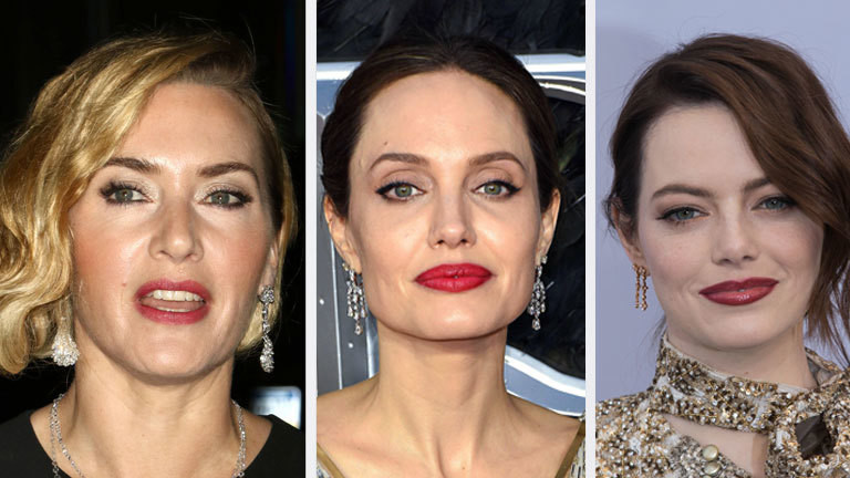Collage aus den Gesichtern von Kate Winslet, Angelina Jolie und Emma Stone..