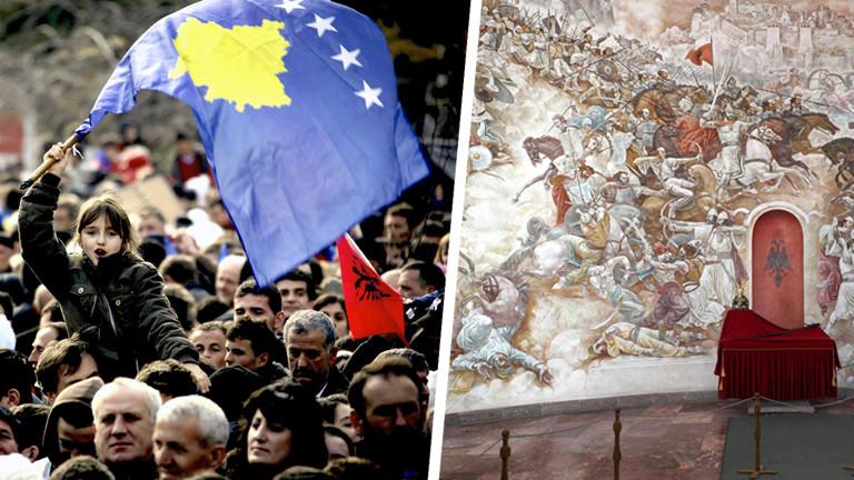 Albaner feiern Unabhängigkeit des Kosovo und ein Gemälde der Schlacht am Amselfeld im Skandebeg-Museum.