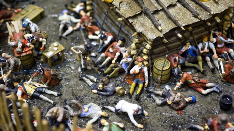 George Washington kämpfte mit im French and Indian War: Figuren eines Dioramas der Schlacht um Fort Necessity in St. Paul, Minnesota