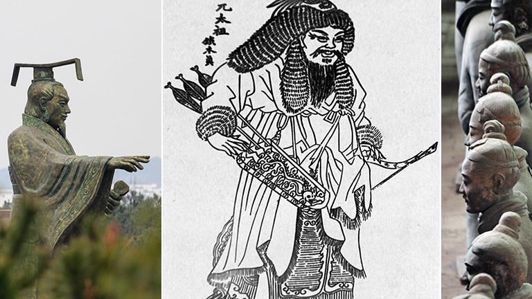 Kaiser Ying Zheng - auch Qin Shihuangdi –, Genghis Khan und die 1976 entdeckte Terrakottaarmee in der Nähe von Xian