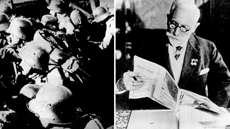 Collage: Links ein Foto von Soldaten in Verdun, rechts ein Foto des ehemaligen Kaiser Wilhelm II in Dorn.