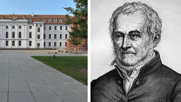 Die Universität Greifswald und ein Porträt von Ernst Moritz Arndt
