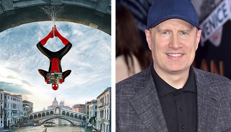 """Still aus dem Spiderman-Film """"Far from Home"""" und Porträt von Produzent Kevin Feige"""