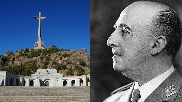 Das Mausoleum und ein Porträt von Francisco Franco