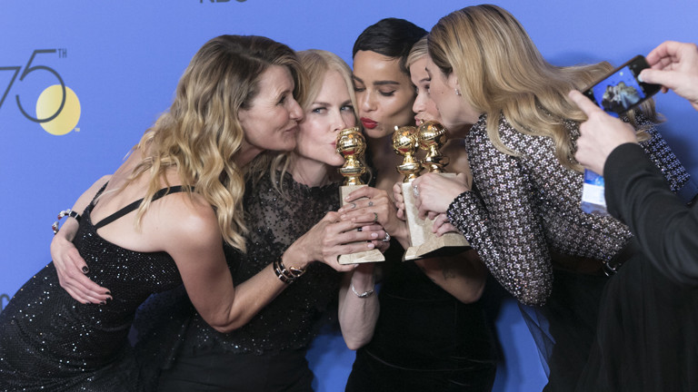 Laura Dern, Nicole Kidman, Zoe Kravitz, Reese Witherspoon and Shailene Woodley pose in the press room of the 75th Annual Golden Globe Awards, Golden Globes, at Hotel Beverly Hilton in Beverly Hills, Los Angeles, USA, on 07 January 2018.