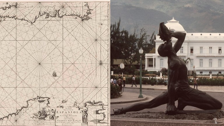 """Ein Mann am Strand von Haiti, eine alte Karte die das damals sogenannte Hispaniola zeigt, das Mahnmal """"Negro Marron"""" in Porte-au-Prince"""