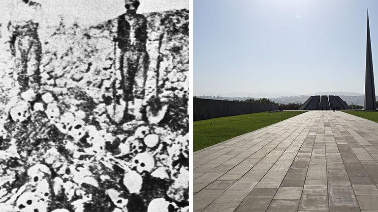 der Völkermord an den Armeniern: Menschen auf Knochenbergen und das Denkmal in Jerewan.