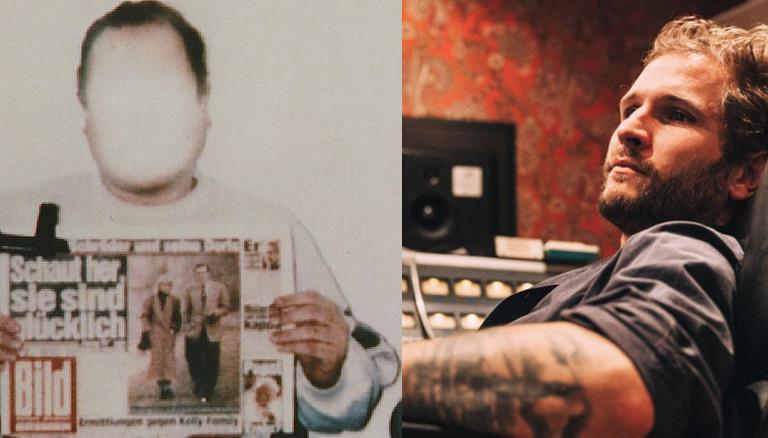 Das von der Polizei geblendete Polaroid-Foto zeigt Jan Philipp Reemtsma bei den Entführern mit einer Ausgabe der Bild-Zeitung vom 26.3.1996. Das Foto wurde den Angehörigen als Lebensbeweis übermittelt. (links)  Johann Scheerer (rechts)