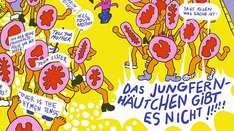Illustration: Demonstration von Jungefernhäutchen