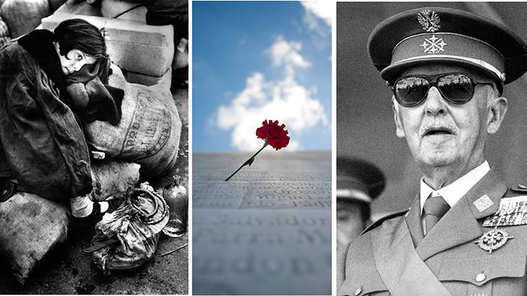Bürgerkriegsflüchtling, Denkmal für gefallene Republikaner und General Francisco Franco