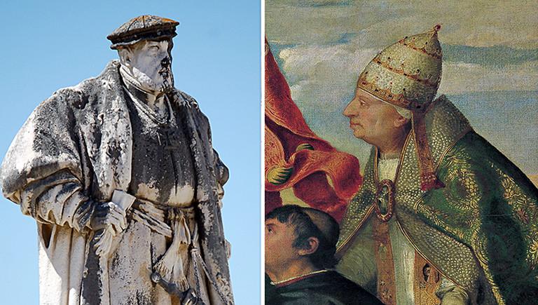 König Johann II von Portugal und Papst Alexander VI.  auf einem Gemälde von Tizian