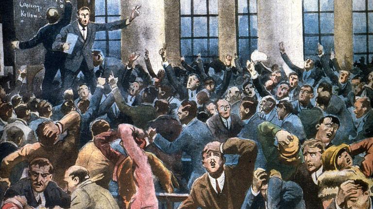 the Wall Street Crash 29 October 1929, Illustration: Alfredo Ortelli Illustrazione del Popolo November 1929